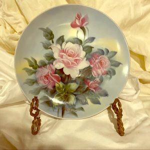 HANDPAINTED PLATE with FLOWERS